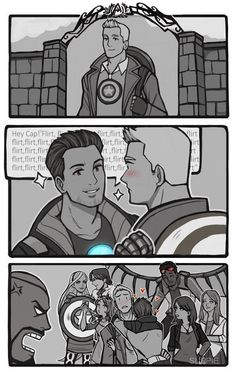 Still waiting for the dating update in Avengers Academy, so I drew this silly comic. I will happily pay for same sex dating, especially Steve/Tony dates! >//< - Visit to grab an amazing super hero shirt now on sale! Superfamily Avengers, Stony Avengers, Stony Superfamily, The Avengers, Avengers Comics, Spideypool, Marvel Funny, Marvel Memes, Steve And Tony