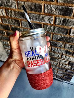 Custom Mason Jar, Baseball Mom, Real Moms of Baseball, Team Mom, Glitter Mason Jar, Glitter tumbler, Mothers Day Gift, Real Housewives by SipSoSweet on Etsy https://www.etsy.com/listing/288396075/custom-mason-jar-baseball-mom-real-moms