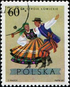 Picture of POLAND - CIRCA A stamp printed in Poland shows polish folk dancers from the Lowickie region, one stamp from series, circa 1969 stock photo, images and stock photography. Postage Stamp Design, Postage Stamps, Stamp Printing, Mail Art, Stamp Collecting, Folklore, My Stamp, Polish, Costumes