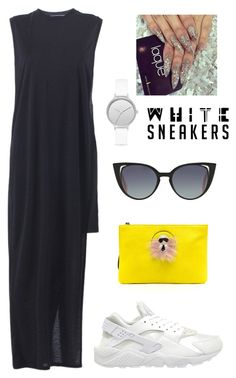 """white sneakers"" by kata-szabo on Polyvore featuring NIKE, Acne Studios, Fendi and Skagen"