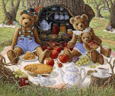 Bentley's Family Picnic, a painting of Bentley Bear and his wife and baby enjoying apple pie and coffee in front of the hollow tree that holds their pantry (with blue and white dishes)