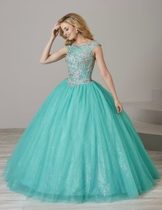 Beaded Illusion Quinceanera Dress by Fiesta Gowns 56368 (Size 12 - Xv Dresses, Quince Dresses, Prom Dresses, Formal Dresses, Ball Dresses, Mint Green Dress, Royal Blue And Gold, Princess Ball Gowns, Quinceanera Dresses