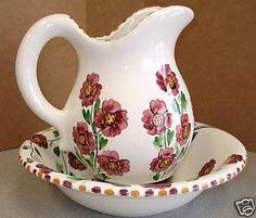 Hermes Ceramics Greece Hand Made Pitcher and Basin   eBay