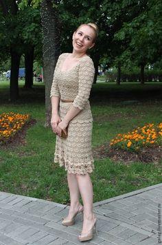 """Купить Платье """"Романтичное"""" - бежевый, однотонный, вискоза, романтичное платье, кружевное платье, платье, романтичное"""