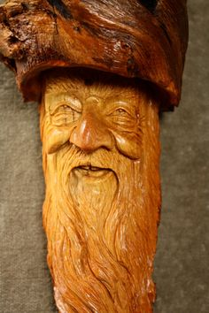 Wood Spirit Wood Carving Unique Wooden by TreeWizWoodCarvings, $125.00