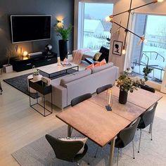 Apartment Interior, Home Interior, Apartment Living, Interior Decorating, Interior Design, Small Living Rooms, Home Living Room, Living Room Decor, Living Dining Combo