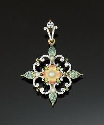 A late 19th century gold, seed pearl and enamel pendant brooch