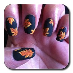Maybe cute for one nail Fall leaf nails