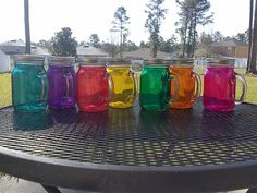 16 oz  MASON JAR Sippy Tumbler - Glass with Handle - Choose your Color -  Bachelorette Party - Baby Showers - Weddings Welcome on Etsy, $7.00