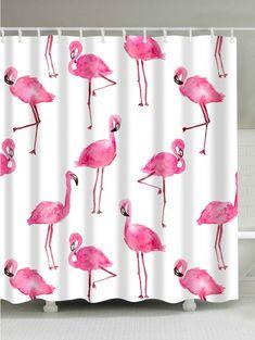 Pink Flamingo Tropical Bathroom Set Decor Polyester Shower Curtain Hook