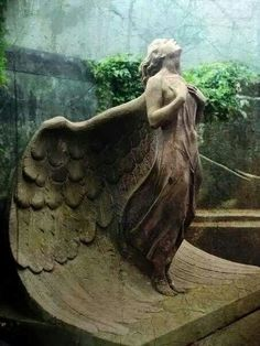 ☫ Angelic ☫ winged cemetery angels and zen statuary - Warsaw, Poland Graveyard Cemetery Angels, Cemetery Statues, Cemetery Art, Cemetery Monuments, Highgate Cemetery, Angels Among Us, Angels And Demons, Statue Ange, Old Cemeteries
