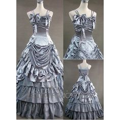 Double Shoulder Strips Gothic Victorian Dress Silver Lolita Dress With Multi Ruffles And Layers