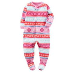 Baby+Girl+Carter's+Winter+Printed+Footed+Pajamas
