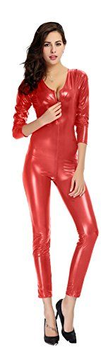 Introducing Ensnovo Womens Metallic Lycra Spandex Round Neck Front Crotch Zipper Catsuit Red L. Get Your Ladies Products Here and follow us for more updates!