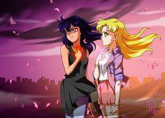 Selene and Aurora about to transform into Sailor Kuu and Sailor Igni by Drachea Rannak