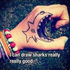 Best Funny Tattoos Make Happy Shark-Tattoo. Hand Tattoos, Sharpie Tattoos, Body Art Tattoos, Cool Tattoos, Awesome Tattoos, Tatoos, Fish Tattoos, Tatoo Henna, Diy Tattoo