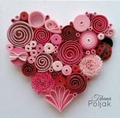 Quilled heart, quilling red rose heart, love quilling, quilled Ladybug, quilling by Tihana Poljak by cmyk