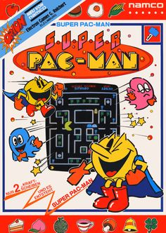 The Arcade Flyer Archive - Video Game Flyers: Super Pac-Man, Namco / Namco Bandai Games Vintage Video Games, Classic Video Games, Retro Video Games, Vintage Games, Vintage Toys, Pac Man, Cartoon Network, History Of Video Games, Poster Retro