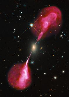 Galaxy Hercules A in the constellation Hercules emits plasma jets nearly one million lightyears long   Image credit: NASA/ESA Hubble Space Telescope
