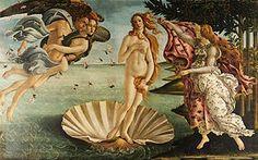 """3.Podemos apreciar """"El nacimiento de Venus"""" (1484), temple sobre lienzo (278.48 cm × 172.48 cm)de Botticelli; pintura que corresponde al arte de la Edad Moderna donde, su protagonista es una mujer al desnudo que goza de una figura y una melena rompedora con estilos anteriores. Museo: Galeria Uffici, Florencia, Italia"""