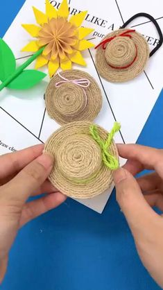 Diy Crafts For Home Decor, Diy Crafts For Gifts, Diy Arts And Crafts, Creative Crafts, Crafts For Kids, Craft Kids, Rope Crafts, Yarn Crafts, Diy Bead Embroidery