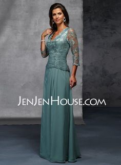Mother of the Bride Dresses - $159.89 - A-Line/Princess V-neck Floor-Length Chiffon  Charmeuse  Lace Mother of the Bride Dresses With Ruffle  Lace (008006076) http://jenjenhouse.com/A-line-Princess-V-neck-Floor-length-Chiffon--Charmeuse--Lace-Mother-Of-The-Bride-Dresses-With-Ruffle--Lace-008006076-g6076