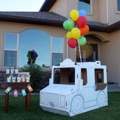 love this cardboard ice cream truck for a party except I would make a batmobile
