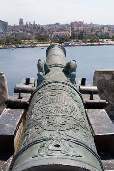 Cannon of Fortaleza San Carlos protecting the port of Havana, Cuba by abaesel, via Flickr