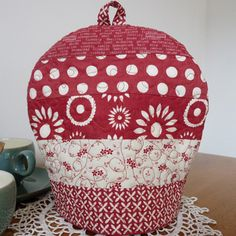 Rust and cream quilted patchwork tea cosy