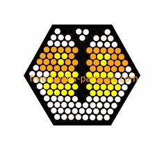 Yellow and orange butterfly free hexagon perler beads pattern for children