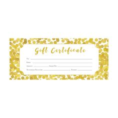Gold Glitter Confetti Gift Certificate Premade Customer Appreciation Template