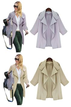 Light Blue and Khaki Loose 3/4 Length Sleeves Trench Coat