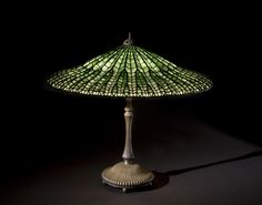 A Tiffany Studios Favrile glass and patinated bronze Lotus table lamp circa 1910