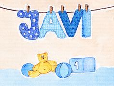Cuadro bebe letras con nombre en tendedor cogido con pinzas, un oso, un cubo y unos balones, pintado a mano con pintura y acuarela, para la habitación o cuarto de los más pequeños de la casa. En este caso con el nombre de Javi o Javier