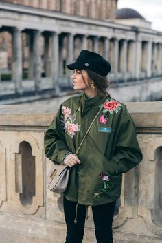 Jacket: tumblr army green oversized oversized embroidered embroidered bag chain bag grey bag hat