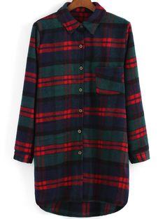 Lapel Plaid Dip Hem Woolen Coat 17.33