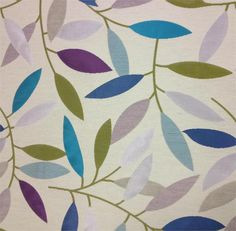 Teal Purple and Green Leaf Fabric - Branching Out Calypso Fabric - Upholstery Fabric By The Yard - by ShopMyFabrics on Etsy https://www.etsy.com/listing/191276621/teal-purple-and-green-leaf-fabric