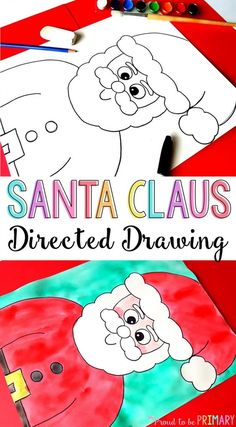 It's the holidays and what better way to decorate than with this Santa Claus directed drawing art activity for kids. It includes easy DIY step by step instructions that you can download for FREE to use in your classroom today! These would make the perfect