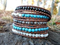 Turquoise and Grey Jasper Mother of Pearl and Black by HempGalore, $38.99