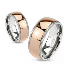 Grooved Edges with Rose Gold IP Dome Center Band Ring