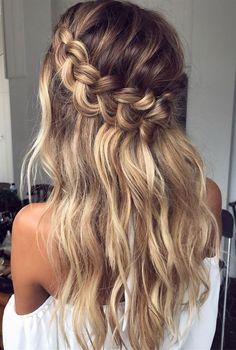luxy-hair-frisur-abiball-frisur-hochzeit-frisur-party-frisur Frisur ideen - New Site Crown Braid Wedding, Wedding Braids, Wedding Hairstyles For Long Hair, Loose Hairstyles, Party Hairstyles, Girl Hairstyles, Braid Crown, Hairstyle Ideas, Halo Braid
