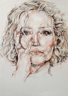 Buy Self Portrait (in mirror), a Pencil on Paper by Jo Beer from United Kingdom. It portrays: People, relevant to: pencils, personal, close up, self portrait, jo beer, face Coloured pencil on heavy weight cartridge paper self portrait by artist Jo Beer.