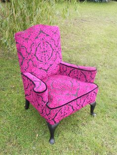 Queen Ann revival chair Reupholstered by Katie Moore. Designers Guild pink…