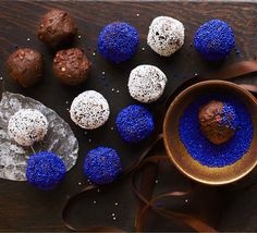 Choc hazelnut truffles. Wrap these decorative chocolates in cellophane and pack in boxes to give as edible gifts or simply bring out after dinner to wow your guests.
