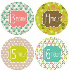 """Lucy Darling Shop Baby Monthly Onesie Sticker - Baby Girl - Pattern Design - Months 13-24 by Lucy Darling Shop. $14.99. 12 Stickers, months 13-24: 4"""" High quality pre-cut stickers. Just peal, stick, photograph!. Perfect to remember your baby's special milestones. Perfect photo prop!. Makes a great baby shower gift!. 2 monthly onesie stickers for your baby girl or boy. Each sticker measures 4 inches across and will be the perfect accessory for your monthly photos. Just stic..."""