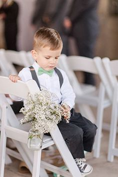 ring bearer in mint bow tie and suspenders for rustic wedding ideas