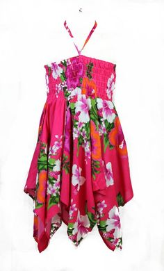 Girl Gypsy Uneven Bottom Dress in Hot Pink Floral