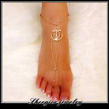 Moda del ancla del oro para el tobillo del pie pulseras sandalias descalzas tobilleras para mujeres Sexy estaño playa de la cadena tobilleras joyería(China (Mainland))