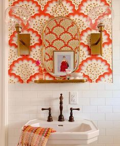 Angelina Coral Wallpapered Bathroom Tilton Fenwick for Hygge West Design by Shauna Glenn Bathroom Inspiration, Interior Inspiration, Bathroom Ideas, Navy Bathroom, Wall Paper Bathroom, Wallpaper In Bathroom, Master Bathrooms, Bathroom Canvas, Zen Bathroom