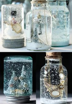 Glue the decoration to the inside of the lid. Fill the jar with boiled water and a teaspoon of glycerine, add glitter or snow, glue lid on nice and tight, add a ribbon. Nice.
